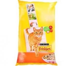Friskies Adult - суха храна за котки с пиле и зеленчуци, 10 кг.