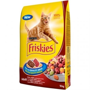 Friskies Adult - суха храна за котки с месо, черен дроб и зеленчуци, 10 кг.