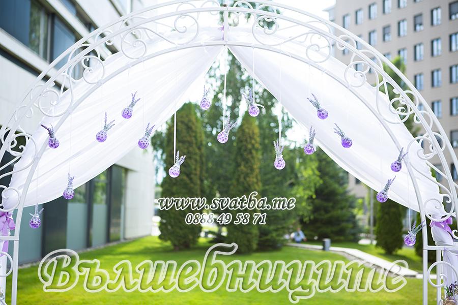 Арка с воали и изкуствени цветя  3