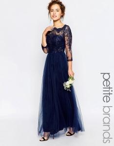 Дълга синя рокля Chi Chi London, Premium lace 1
