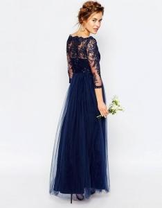 Дълга синя рокля Chi Chi London, Premium lace 2
