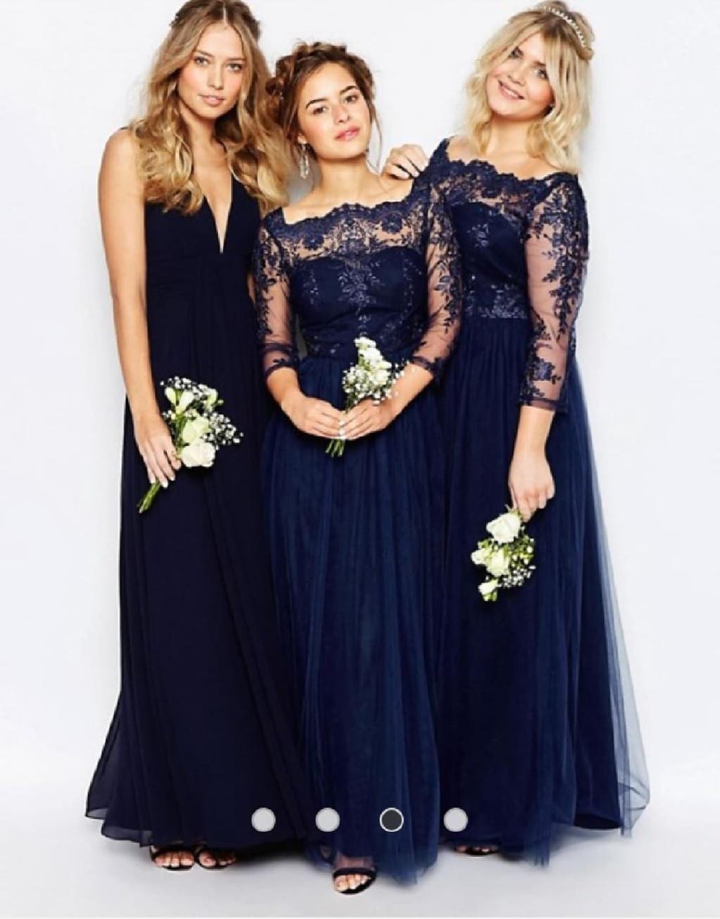 Дълга синя рокля Chi Chi London, Premium lace 3