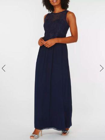 Дълга рокля Dorothy Perkins в тъмно синьо 1